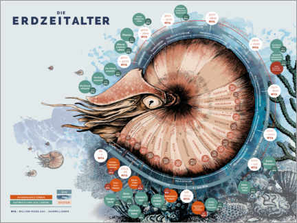 Premium poster The geological time scale (German)