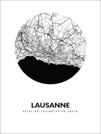 Premium poster City map of Lausanne