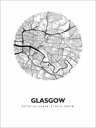 Premium poster City map Glasgow