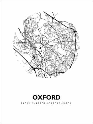 Premium poster Oxford city map