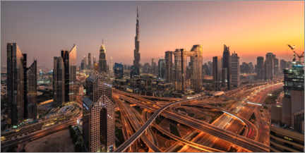 Premium poster  Dubai - sunset over the skyline - Achim Thomae