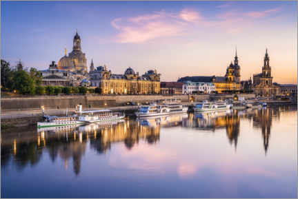 Premium poster  Dresden skyline at sunset - Jan Christopher Becke
