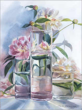 Premium poster Pink peonies in the glass