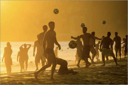Premium poster  Playing football on the beach