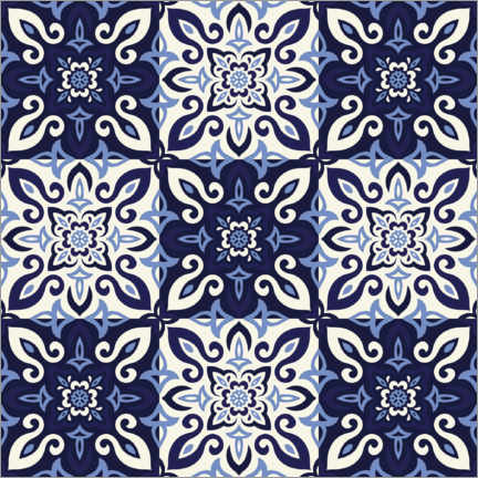 Wood print  Pattern in Delft blue style