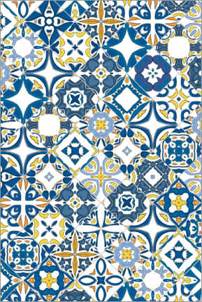 Wood print  Azulejo tiles in Portugal