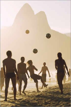 Wood print  Beach soccer in the sunset