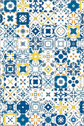 Wood print  Decorative azulejo pattern