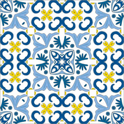 Wood print  Azulejo pattern blue-yellow