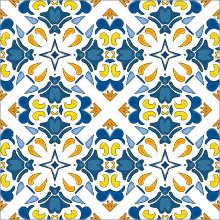 Wood print  Summery azulejo decor