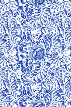Acrylic print  Traditional Delft blue