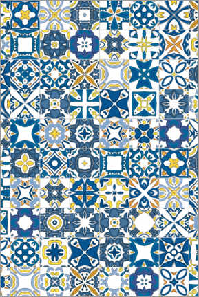 Wood print  Bright azulejos in Lisbon