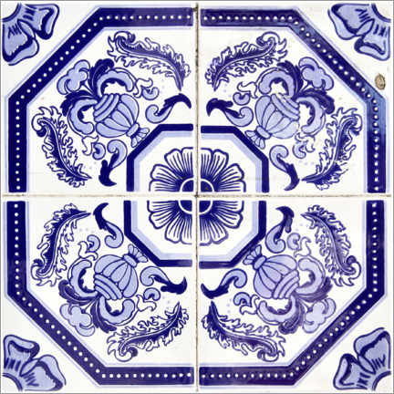 Wood print  Azulejo royal blue
