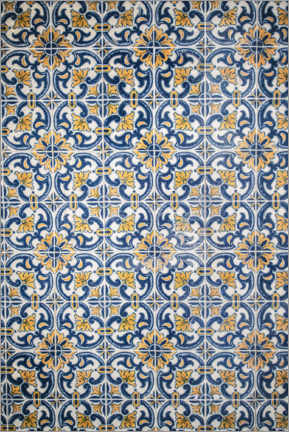 Wood print  Azulejos blue-orange