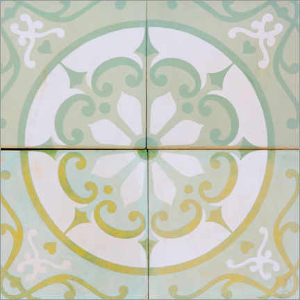 Wood print  Azulejo tile pattern pastel colors