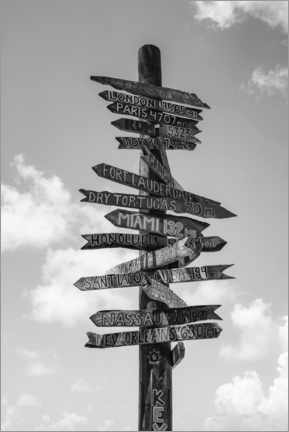 Premium poster  Signpost in Key West, black and white - Matteo Colombo