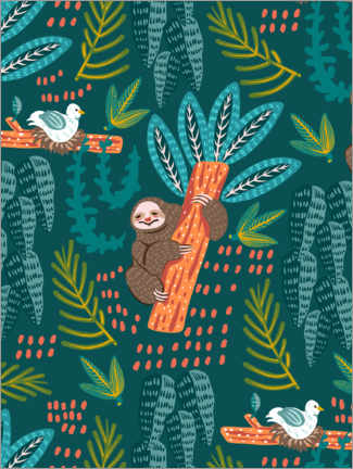 Premium poster A sloth under palm trees