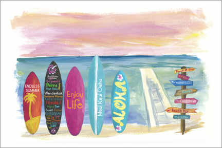 Premium poster  Surfboards by the sea - M. Bleichner