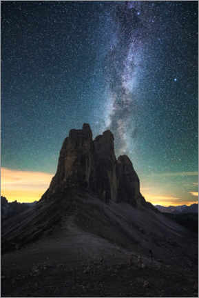 Gallery print  Milky Way over the Three Peaks, Dolomites - Matthias Köstler
