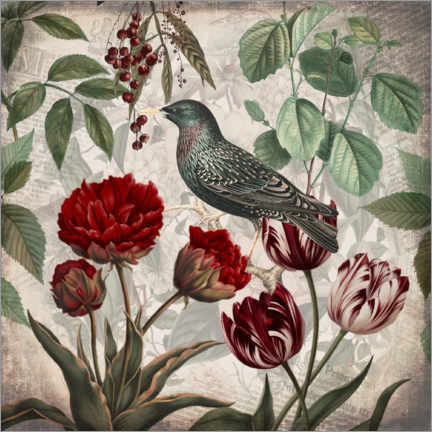 Wall sticker Vintage starling with tulips
