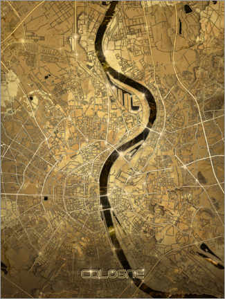 Wood print  Cologne city map gold - Bekim Mehovic