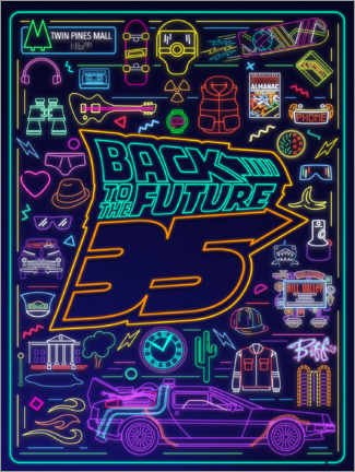 Acrylic print  Back to the future - neon items
