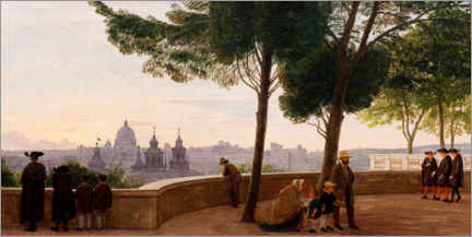 Premium poster  View from Monte Pincio hill in Rome - Peter Christian Skovgaard