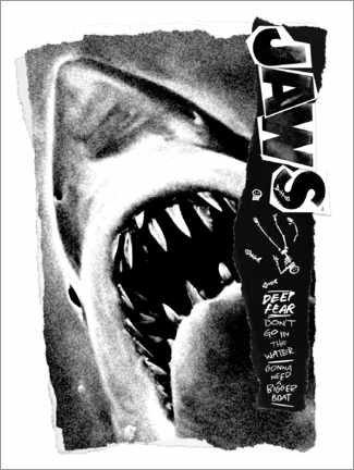 Wood print  Jaws - Deep Fear Collage