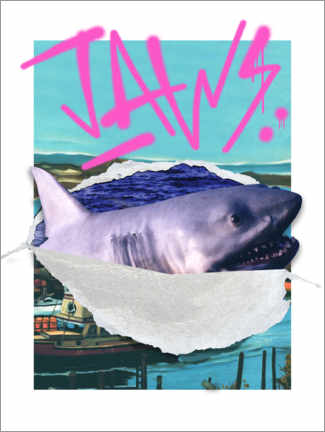 Premium poster  Jaws - retro collage