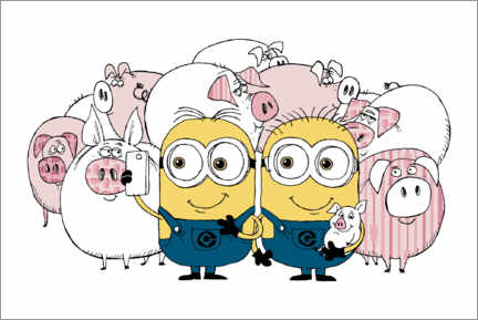 Canvas print  Minions - Selfie with pigs