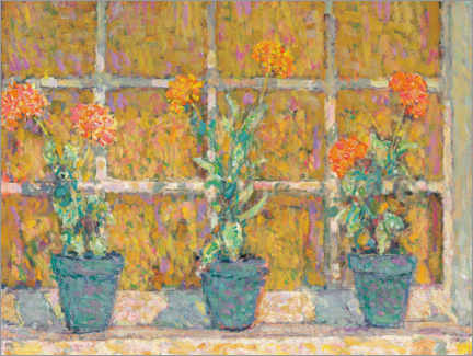 Wood print  The three flower pots - Henri Le Sidaner
