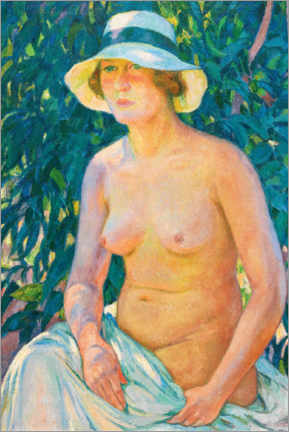 Aluminium print  Nude with a Panama hat - Theo van Rysselberghe