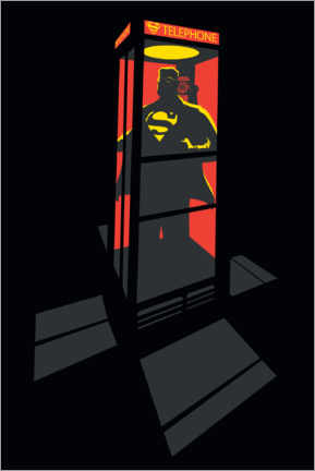Premium poster  Superman Phone Booth - red