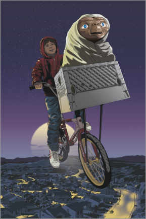 Aluminium print  E.T. - Flying Bicycle