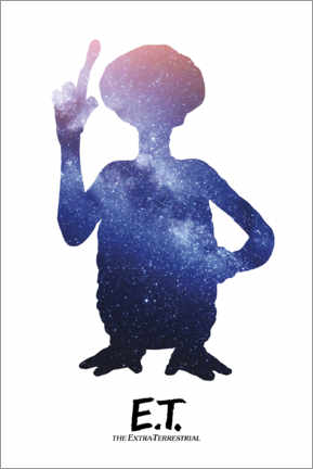 Wood print  E.T. - Night Sky Silhouette