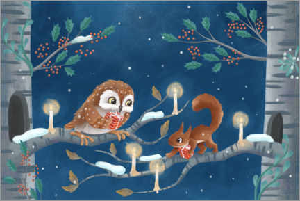 Wood print  Owl and squirrel exchanging gifts - Leonora Camusso