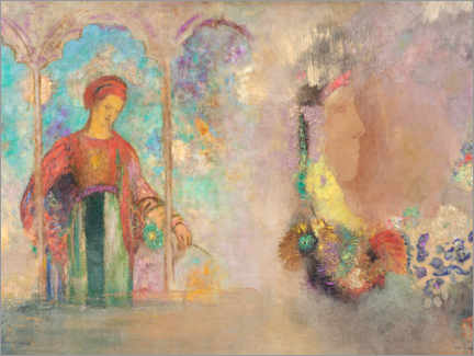Wall sticker  Woman in a Gothic Arcade: Woman with Flowers - Odilon Redon