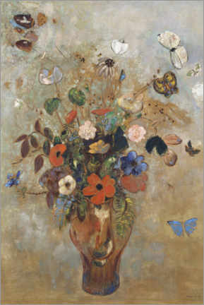 Canvas print  Still life with flowers - Odilon Redon