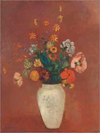 Canvas print  Bouquet of flowers in a Chinese vase - Odilon Redon