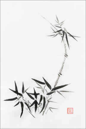 Premium poster Bamboo stem with young leaves