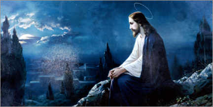 Premium poster  Jesus sitting on the mount of olives - Dr. Wilfried Bahnmüller