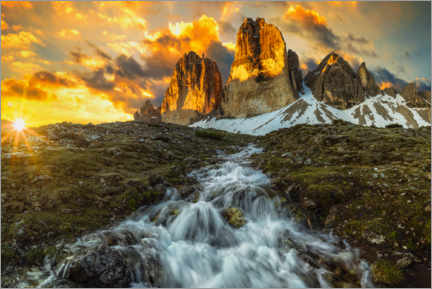 Premium poster Three Peaks in the Dolomites at sunrise