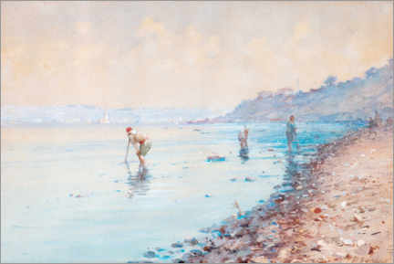 Premium poster  Low tide in Turkey - Fausto Zonaro