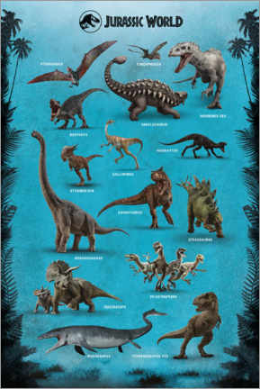 Wood print  Jurassic World - Dinosaurs