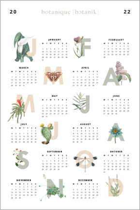 Canvas print  Vintage flowers - calendar 2021 - Typobox