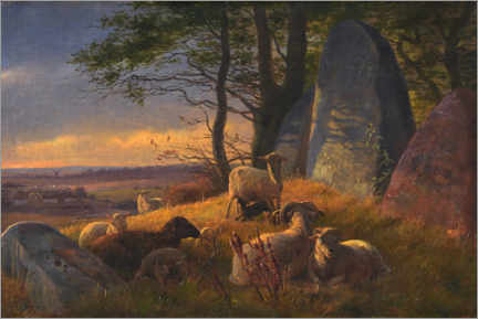 Canvas print  Evening landscape with sheep on a huge hill - Johan Thomas Lundbye