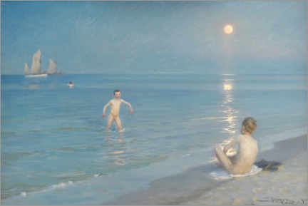 Premium poster Boys bathing on a summer evening on Skagen beach