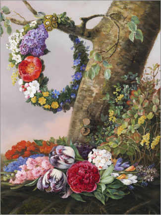 Wall sticker  Bouquet of flowers at the foot of a tree - Christine Løvmand