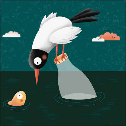 Premium poster  Seagull on fish in the sea - WACHtraum