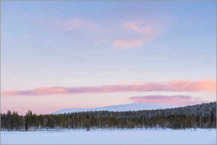 Premium poster  Frozen lake, forest and mountains at sunset - Matthew Williams-Ellis
